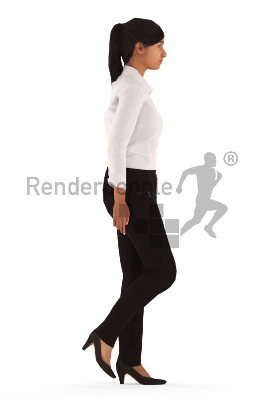 3d people business, animated woman walking