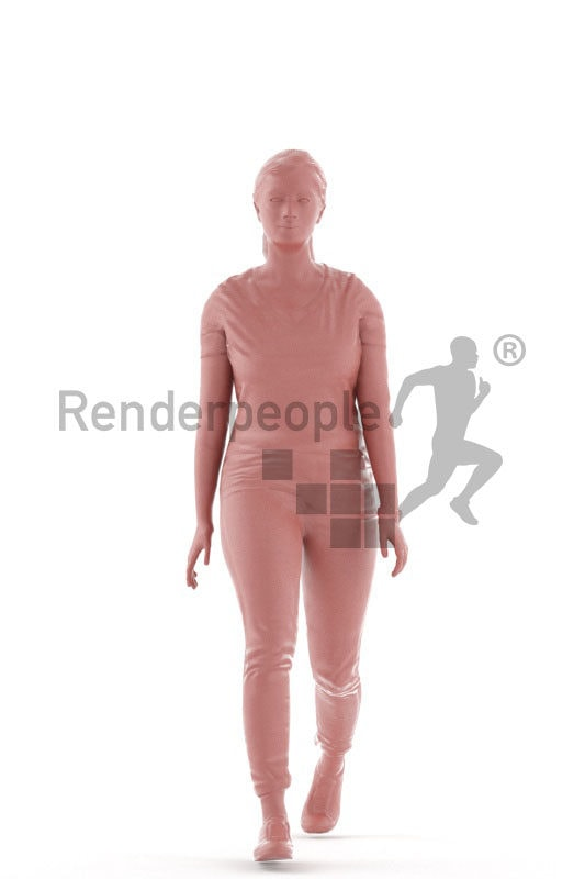 Animated 3D People model for visualization – middle eastern woman in daily clothes, walking
