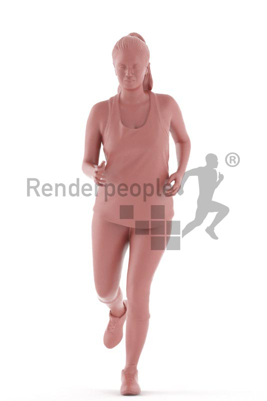 3d people sports, young woman running