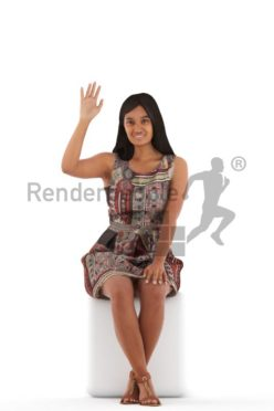 3d people casual, young woman sitting and waving