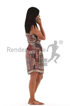 3d people casual, young woman standing and calling