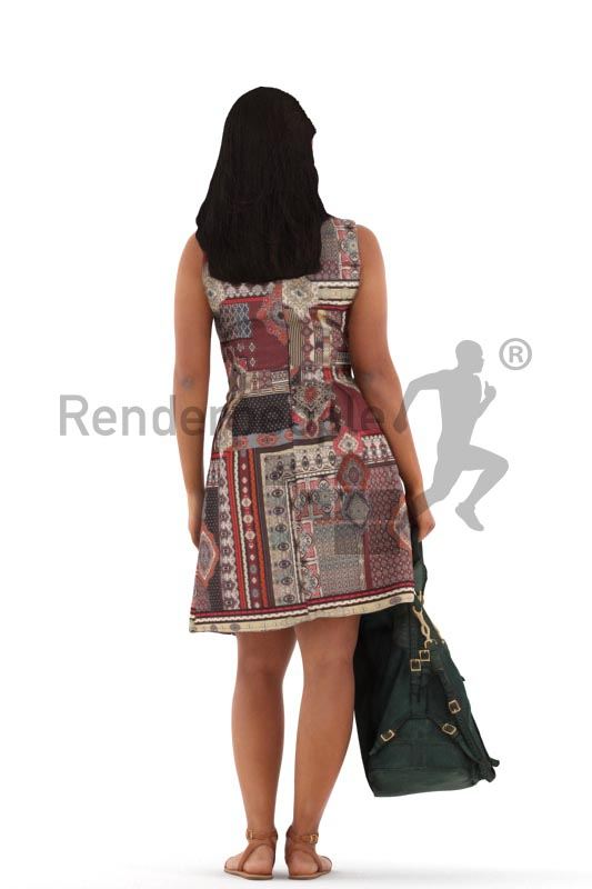 3d people casual, young woman standing