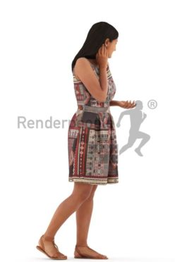 3d people casual, young woman walking looking over her shoulder
