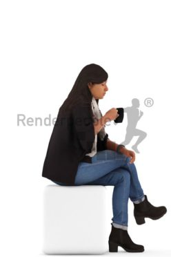 3d people casual, indian 3d man sitting and drinking coffee