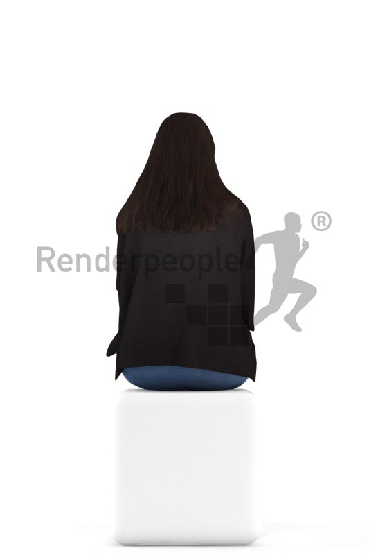 3d people casual, indian 3d woman sitting