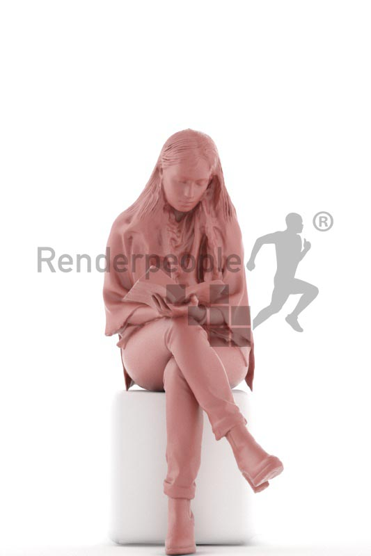 3d people casual, indian 3d woman sitting and reading