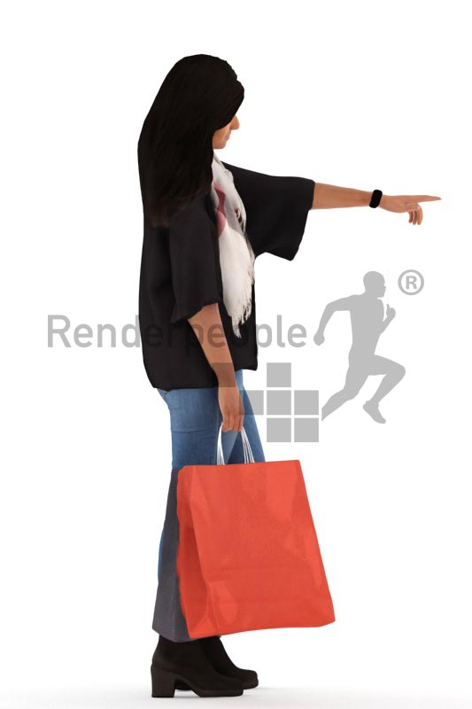 3d people casual, indian 3d woman shopping and pointing