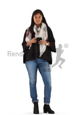 3d people casual, indian 3d woman standing with a cup