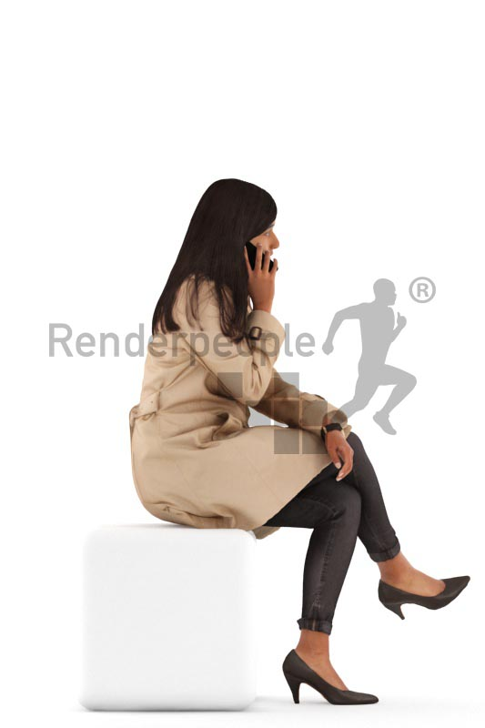 3d people casual, indian 3d woman sitting and calling