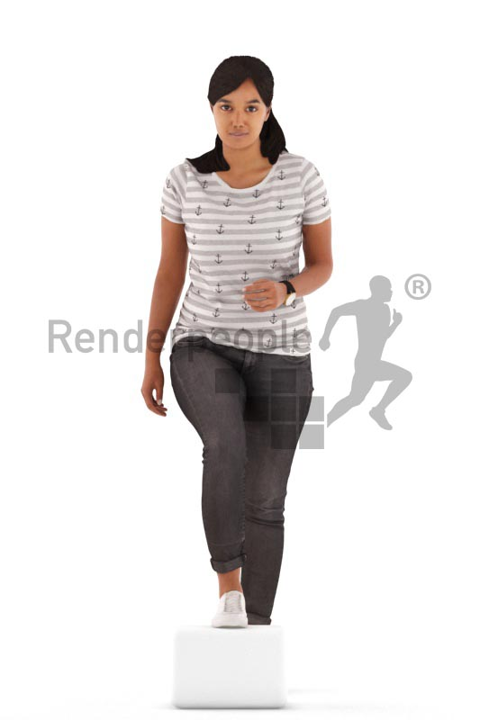 3d people casual, indian 3d woman walking upstairs