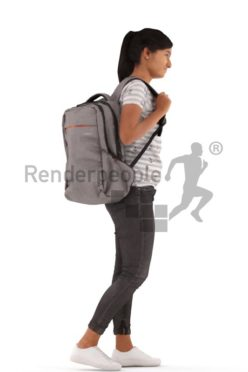 3d people casual, indian 3d woman standing, waiting with a backpack