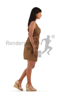 3d people casual, young woman walking