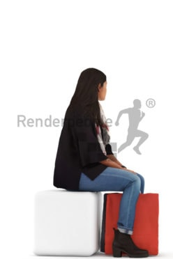3d people casual, indian 3d woman sitting and shopping