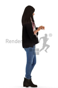3d people casual, standing looking at her watch