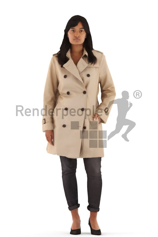 3d people casual, indian 3d woman walking