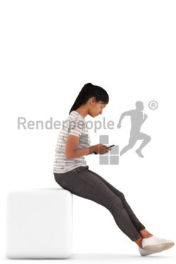 3d people casual, indian 3d woman sitting and texting