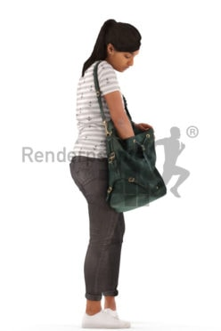 3d people casual, indian 3d woman standing searching in her bag