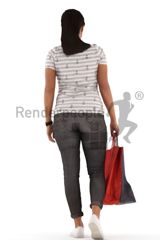 3d people casual, indian 3d woman shopping