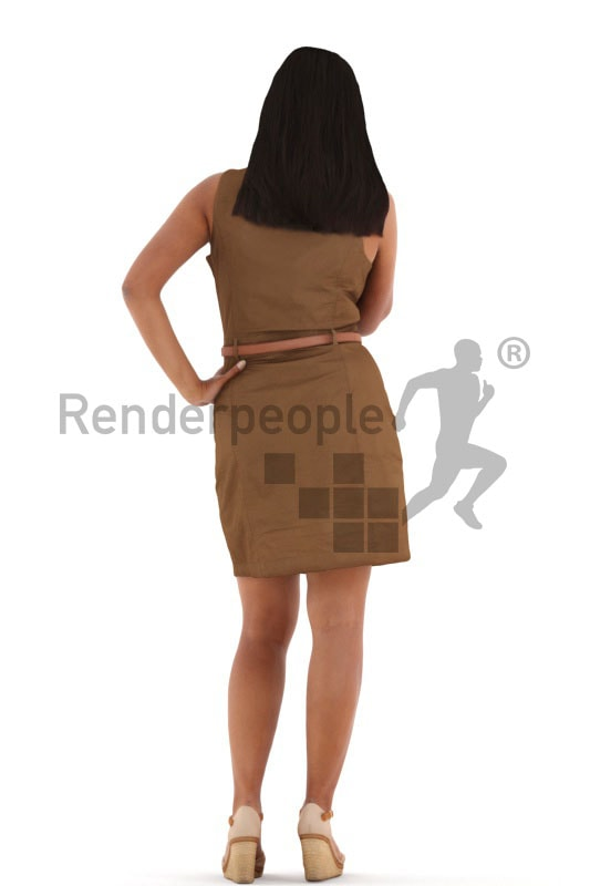 3d people casual, indian 3d woman standing and calling