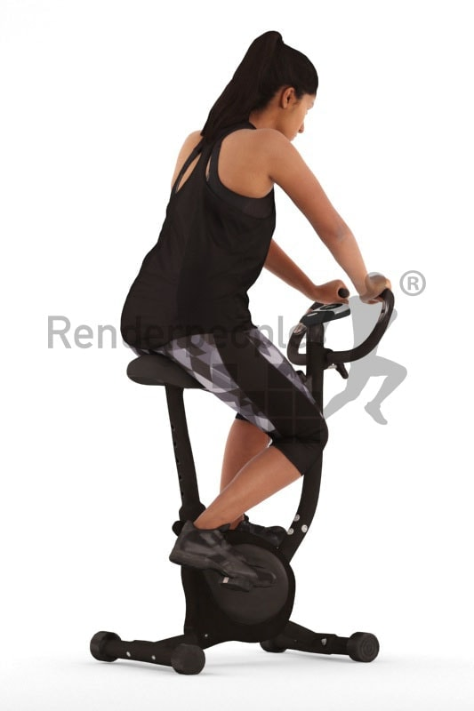 3d people sports, young woman on a ergometer