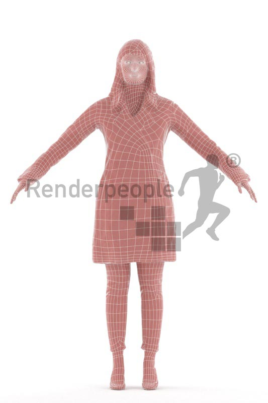 3d people casual, rigged indian woman in A Pose