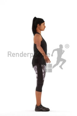 3d people sports, rigged indian woman in A Pose