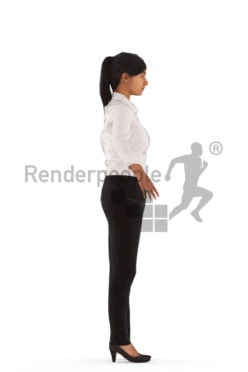 3d people business, rigged indian woman in A Pose