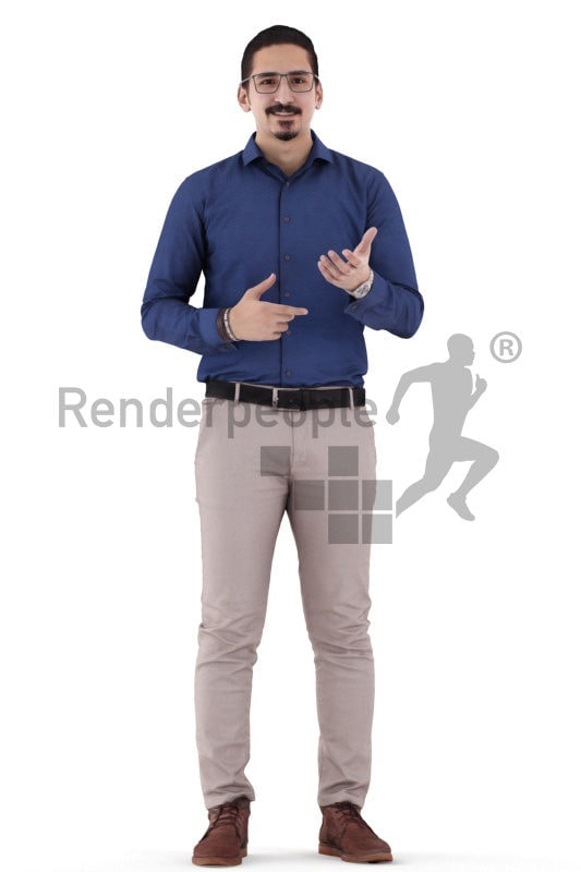 3d people business, middle eastern 3d man standing talking
