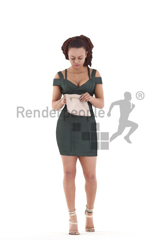 Posed 3D People model for renderings – black woman in chic event dress, walking and searching in her bag