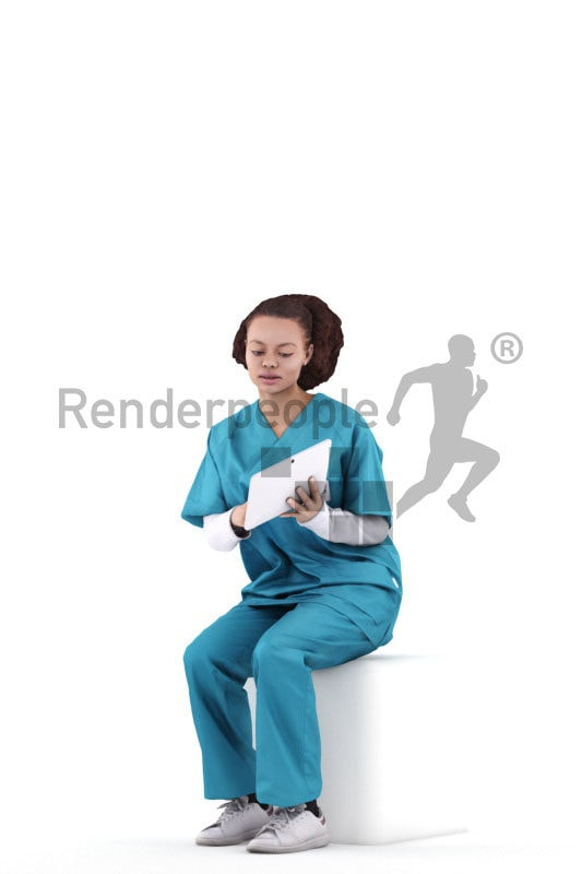 Posed 3D People model by Renderpeople – black woman in healthcare outfit, sitting and showing something on the tablet