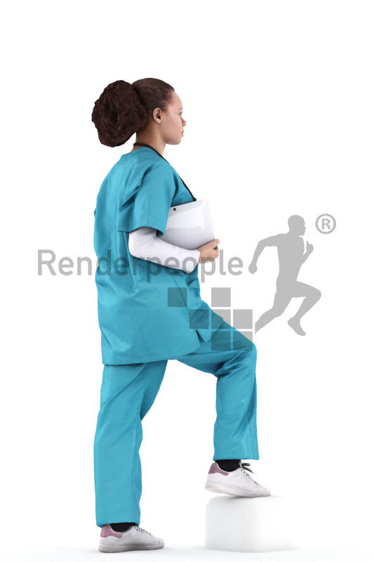 Scanned 3D People model for visualization – black female in medical outfit, holding a clipboard and walking upstairs
