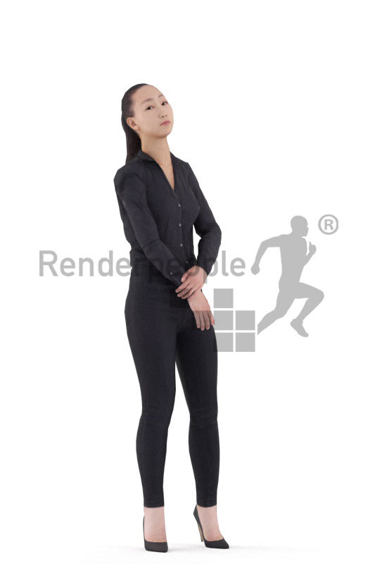 Animated 3D People model for Unreal Engine and Unity – asian woman in business clothes, standing