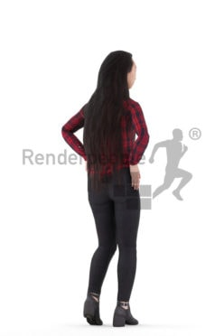 Animated 3D People model for Unreal Engine and Unity – asian woman in casual look, standing