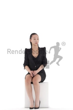 Animated 3D People model for Unreal Engine and Unity – asian woman in business look, sitting