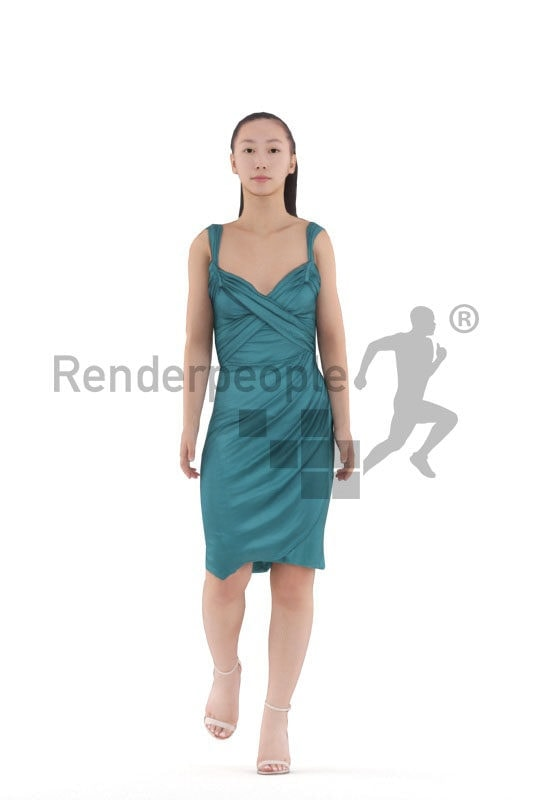 3d people event, asian woman, walking animated