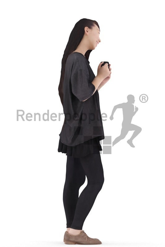 3d people casual, asian 3d woman standing holding mug