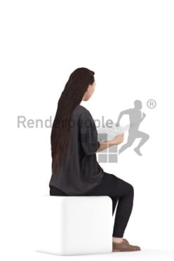 3D People model for 3ds Max and Maya – asian woman in homewear, sitting and reading a magazine