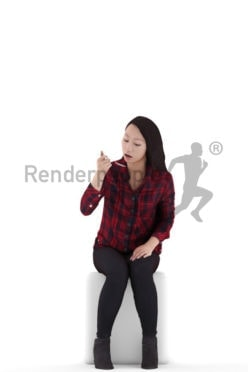 Posed 3D People model for visualization – asian woman wearing a shirt, sitting and eating
