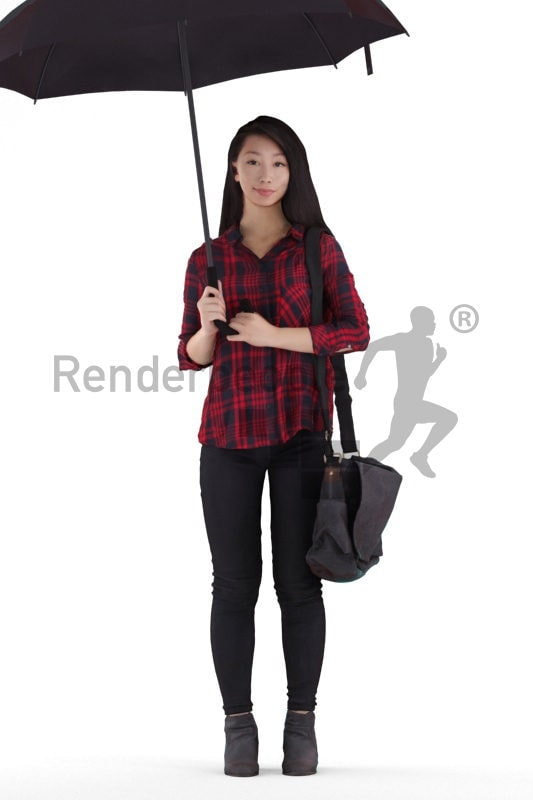 Photorealistic 3D People model by Renderpeople – asian woman in campus look, standing with a bag and an umbrella