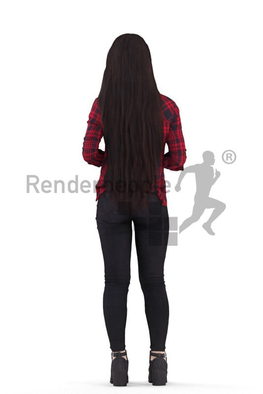 Posed 3D People model for visualization – asian woman woth daily clothes, standing and holding a coffe to go cup