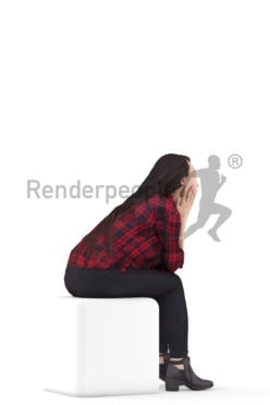 3D People model for 3ds Max and Maya – asian woman casual daily outfit, sitting and listening
