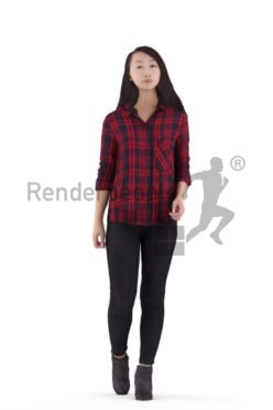 3D People model for 3ds Max and Cinema 4D – asian woman in daily look, walking