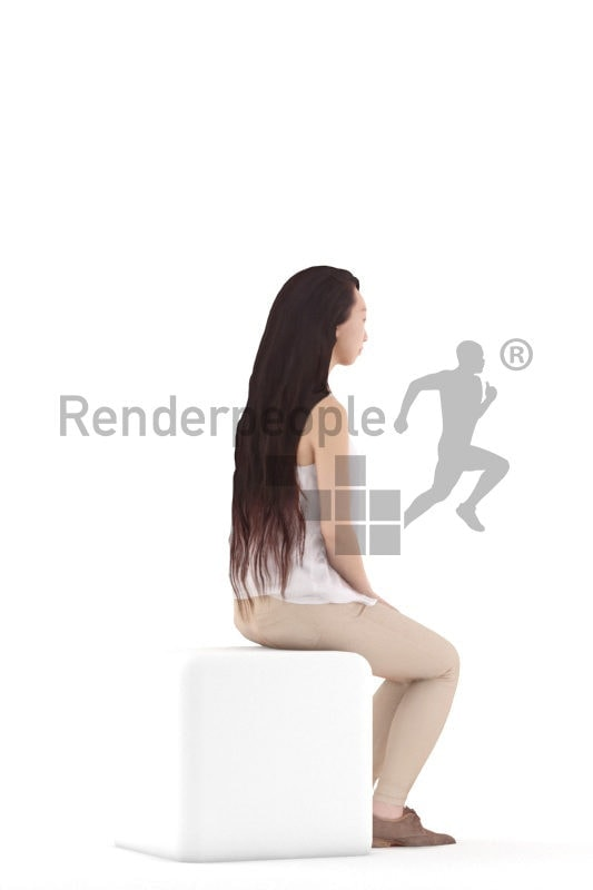 Posed 3D People model for renderings – asian woman in daily spring outfit, sitting