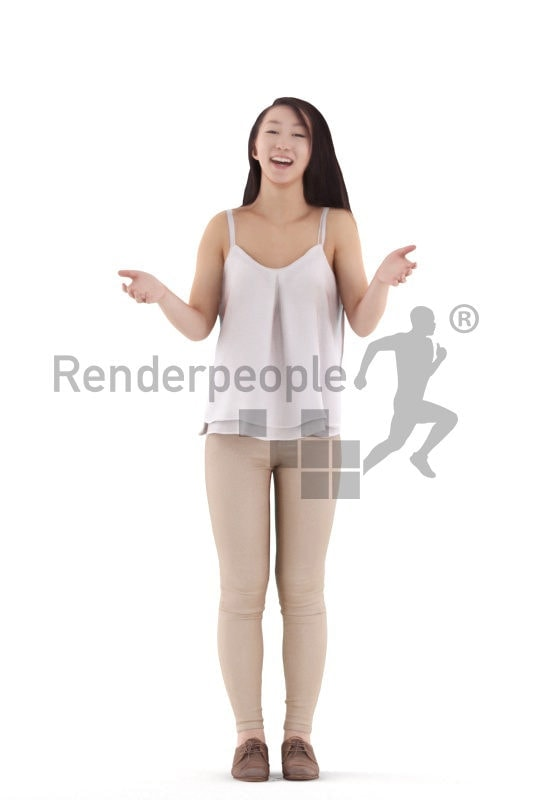 Posed 3D People model for renderings – asian woman in daily spring outfit, standing and talking