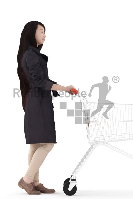 Photorealistic 3D People model by Renderpeople – asian woman in a trenchcoat, walking with a shopping cart