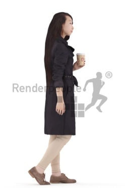 3d people casual outdoor, asian 3d woman walking holding mug