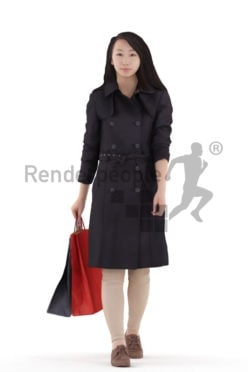 Photorealistic 3D People model by Renderpeople – asian woman with trenchcoat, walking with paperbags