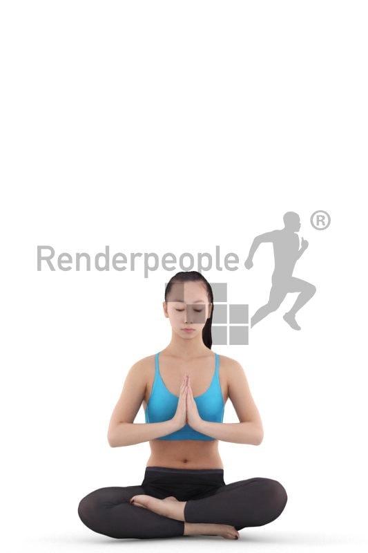 Posed 3D People model by Renderpeople – asian woman in sportswear, doing yoga