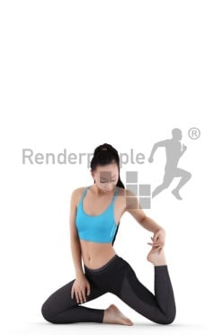 Photorealistic 3D People model by Renderpeople – asian woman with sports clothes doing yoga