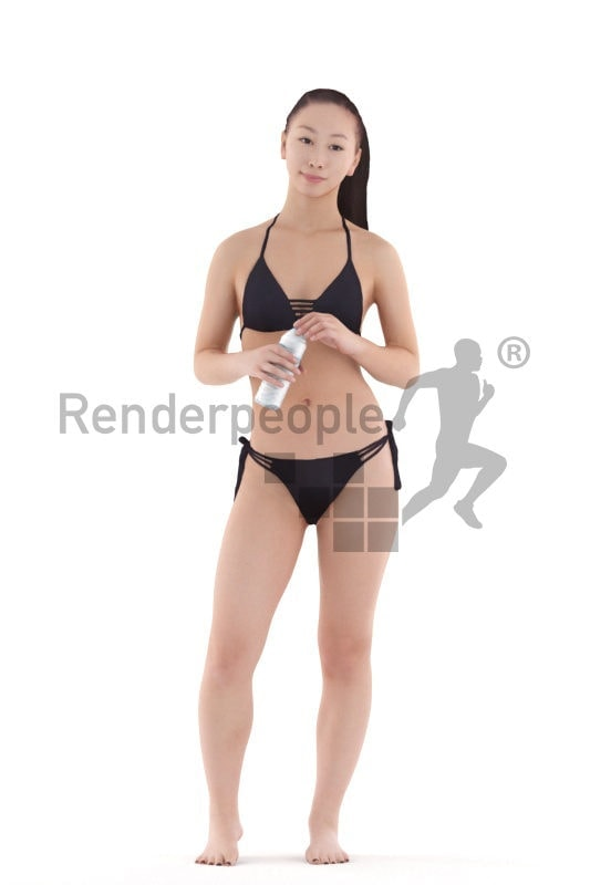 3D People model for 3ds Max and Maya – asian woman in bikini, standing and holding a bottle